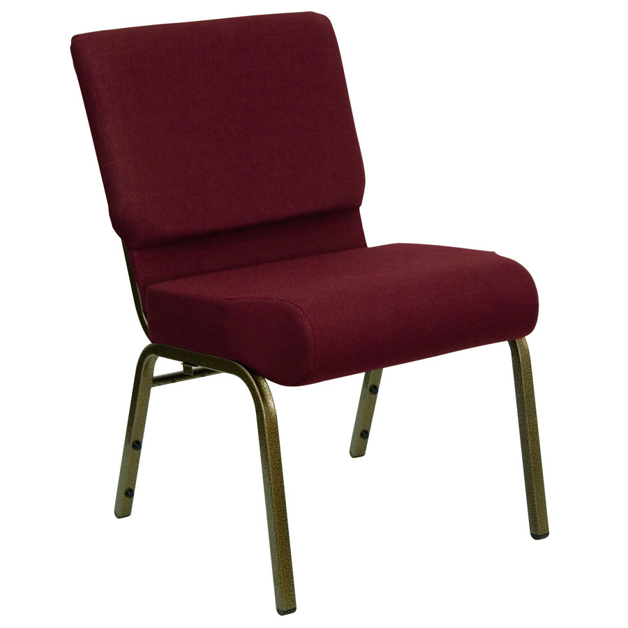 Burgundy 21quot Extra Wide Church Chair With Gold Vein Frame
