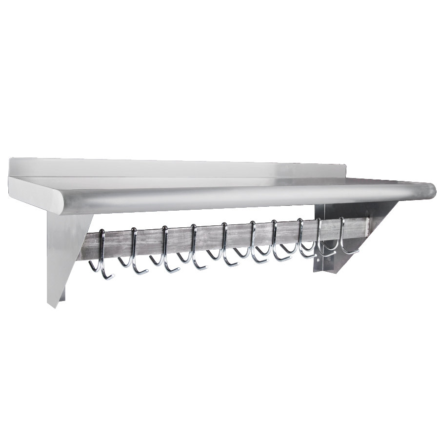 Regency 12quot X 36quot Stainless Steel Wall Mounted Pot Rack
