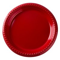 """Dart Solo PS95R-0099 9"""" Red Plastic Plate - 25/Pack"""