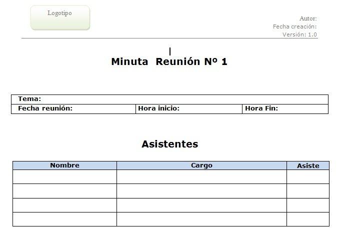 Plantilla de Minuta de Reunión - Archivo doc descargable - Web y - formatos de minutas en excel
