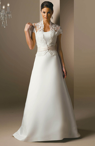 Simple Elegant Satin and Lace Wedding Dress - strapless, lace shrug