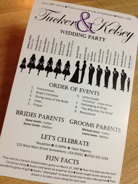 The Opposite of Easy Newspaper Wedding Programs - wedding program