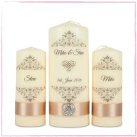 Elegant Personalised Unity Wedding Candles Set Ireland UK ...