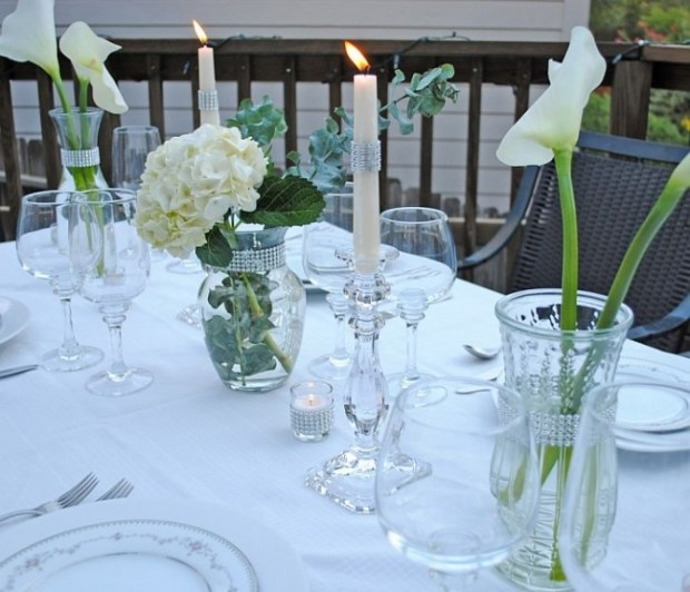 Hurricane Lamps as Center Piece