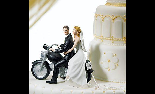 Motorcycle wedding cake topper