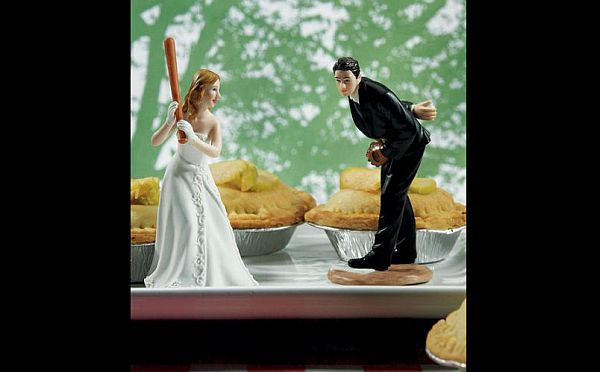 Sports wedding cake topper