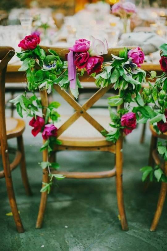 Garden Wedding Décor: Floral Chairs