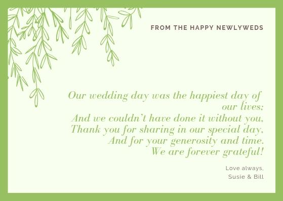 Wedding Thank You Cards Wording 2019 Guide Wedding Forward
