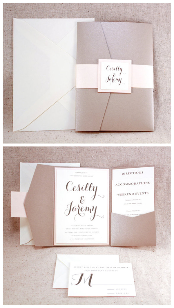 Square Bronson Wedding Invitation Suite with Belly Band - Champagne - best of wedding invitation design software free download