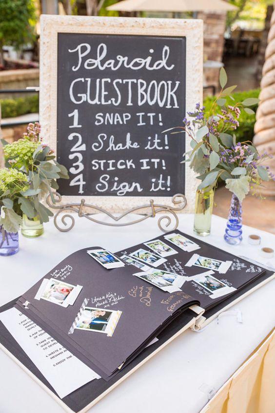 Polaroid inspired unique wedding guest book WeddingInclude