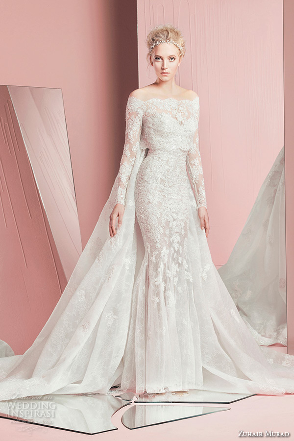Zuhair murad bridal spring 2016 wedding dresses crazyforus for Wedding dress with cape train