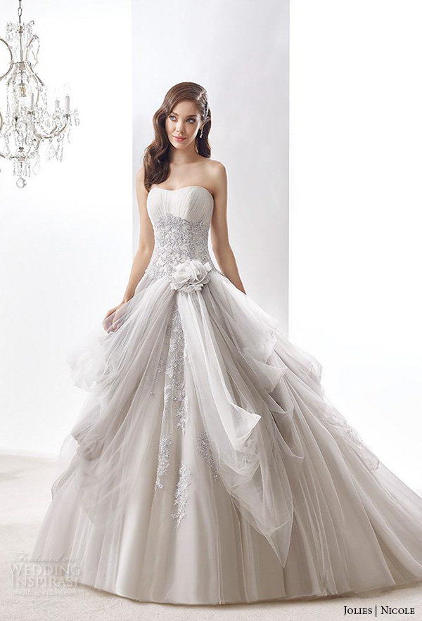 nicole jolies 2016 wedding dresses strapless sweetheart neckline beautiful grey ball gown wedding dress joab16405