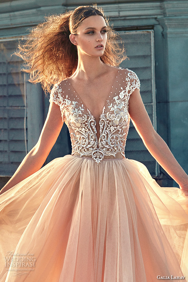 Wedding Dress Color Trends : Bridal gowns gorgeous cap sleeves blush color ball gown wedding dress