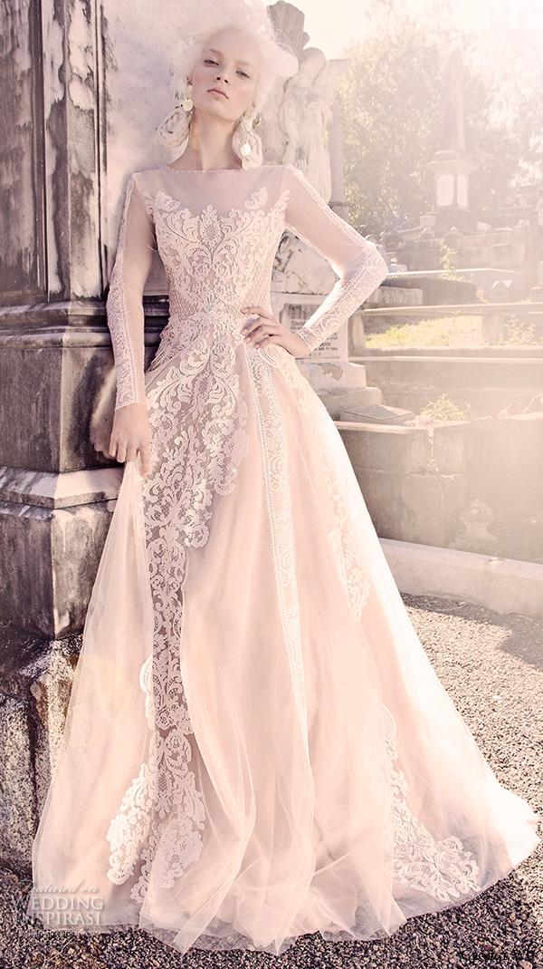 George wu 2016 sancta sedes bridal collection crazyforus for Jewel neckline wedding dress