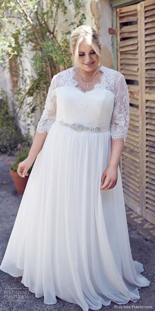 Creative Size Sydney Wedding Dress Plus Size Ion Bridal 2016 3 Quarter Sleeves Sweeart Illusion V Neck Lace Bodice A Line Wedding Dress Elegance Mv Romantic Wedding Dress Size Nz