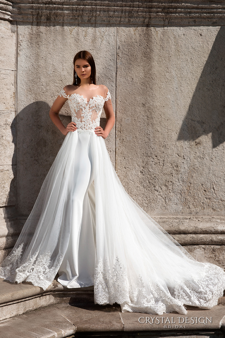 wedding dresses with long trains and sleeves wedding dresses long train V Neck Long Sleeves Sweep Train Ivory Lace Tulle Wedding Dress