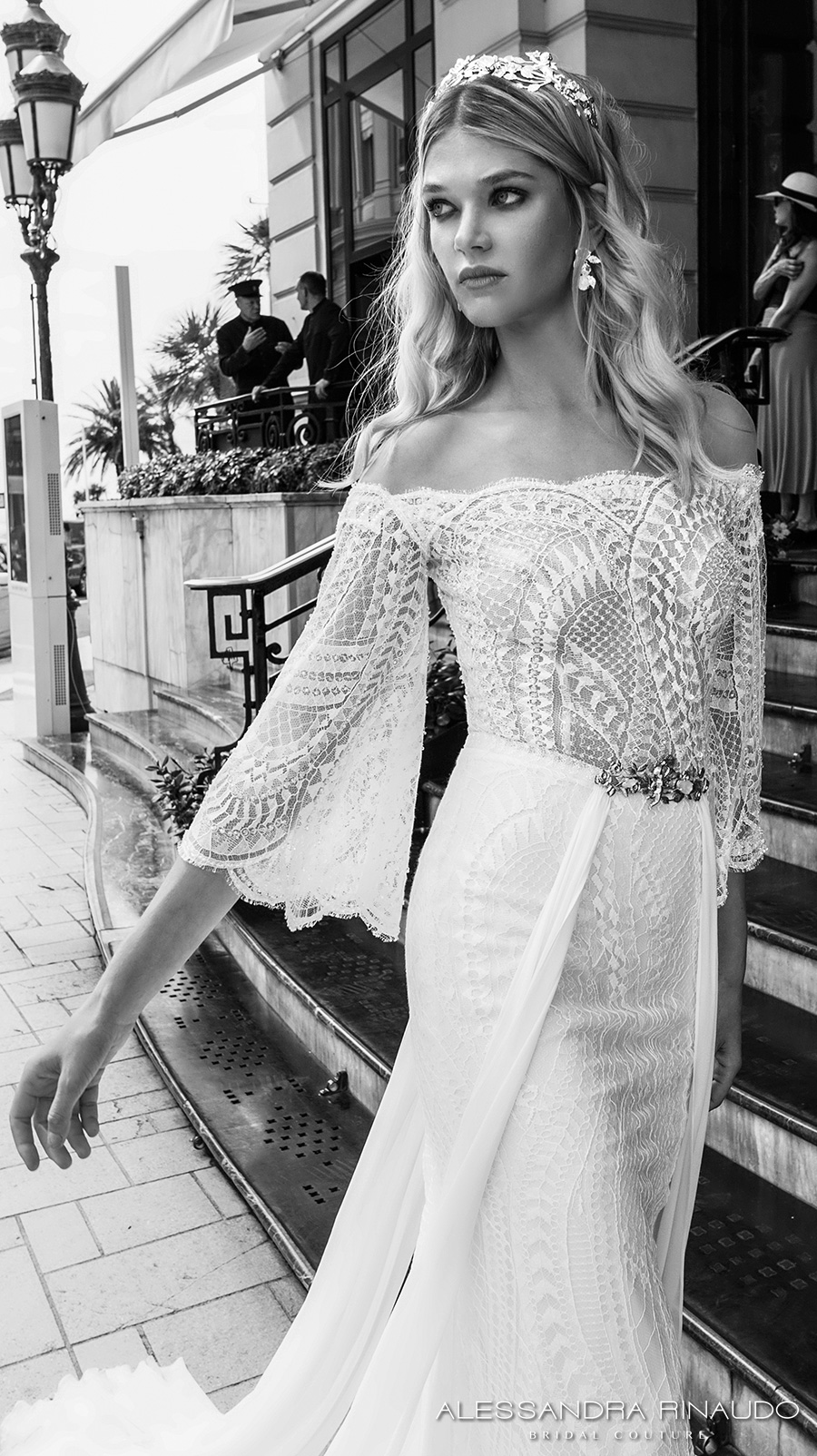 alessandra rinaudo 2017 bridal off the shoulder three quarter bell sleeves lace heavily embellished bodice sexy sheath wedding dress lace back sweep train (bria) zv