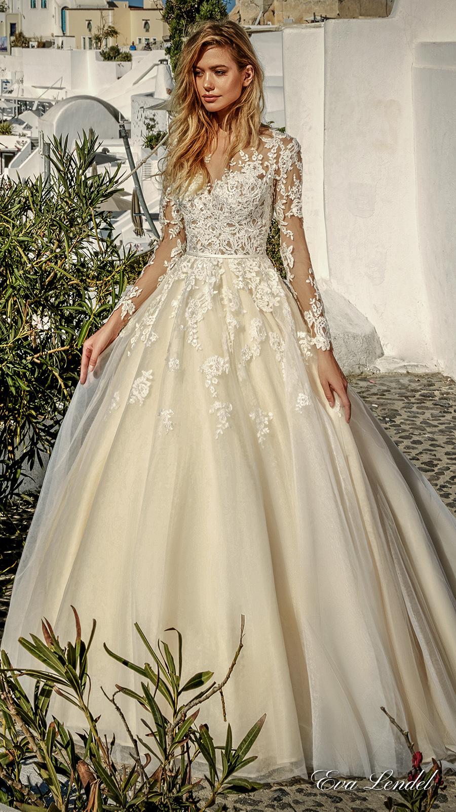 eva lendel 2017 bridal long sleeves v neck heavily embellished bodice romantic princess ivory a line wedding dress illusion lace back chapel train (allen) mv