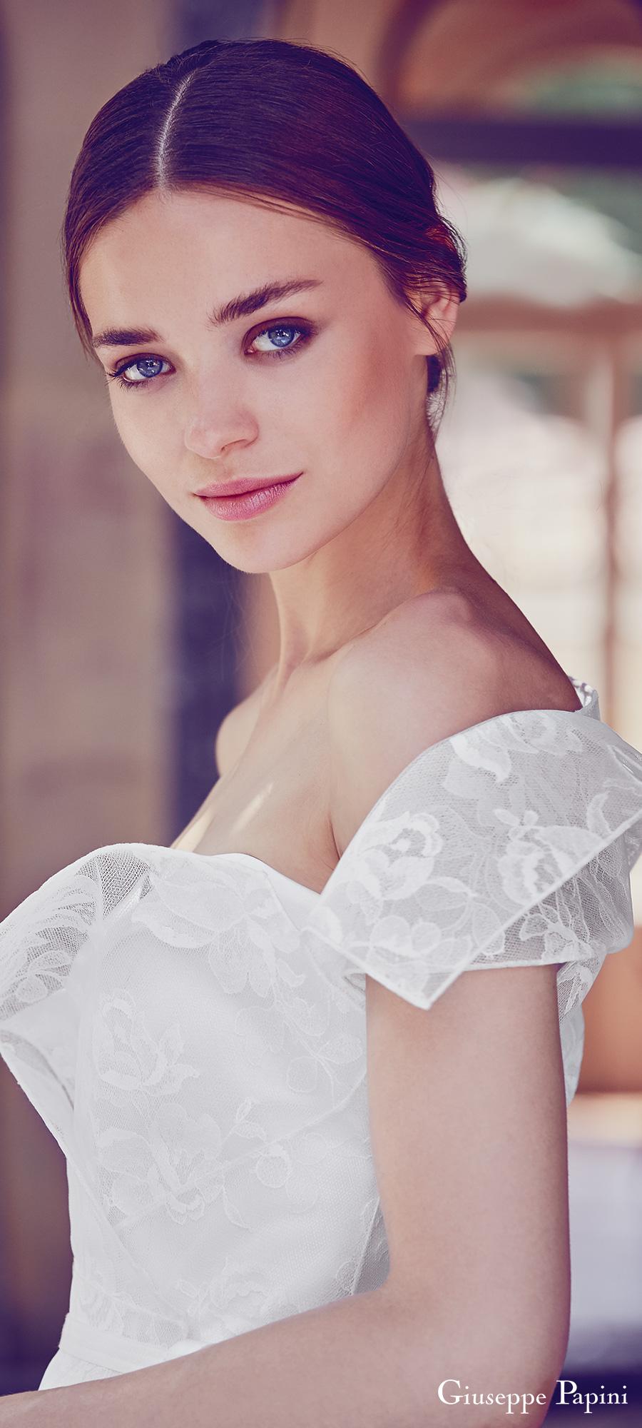giuseppe papini 2017 (como) short sleeve sweetheart crochet lace wedding dress zv