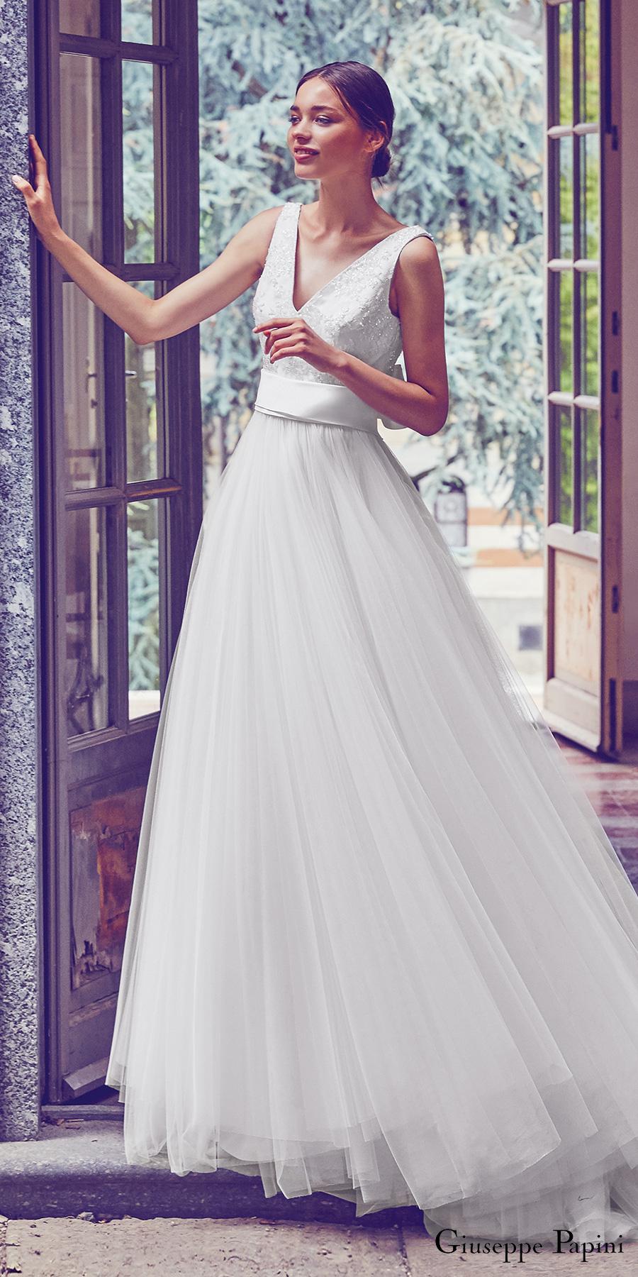 giuseppe papini 2017 (venice) sleeveless v neck beaded bodice a line wedding dress zfv