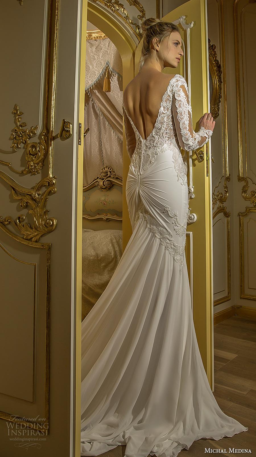 michal medina 2017 bridal long sleeves illusion beateau sweetheart neckline heavily embellished bodice elegant sheath fit flare wedding dress open low back chapel train (emma) bv