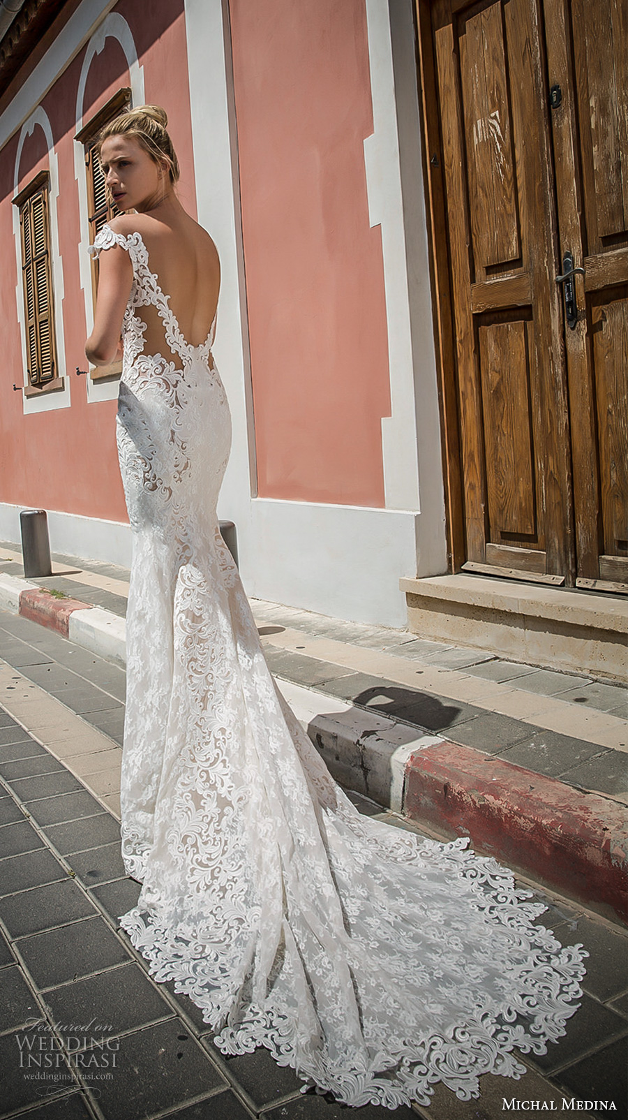 michal medina 2017 bridal off the shoulder cap sleeves deep plunging sweetheart neckline full embellishment elegant sheath fit flare wedding dress open low back chapel train (julianne) bv