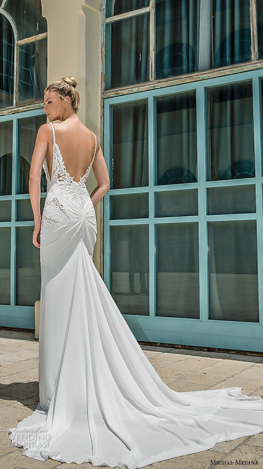 michal medina 2017 bridal spagetti strap deep plunging sweetheart neckline heavily embellished bodice elegant sheath wedding dress open low back chapel train (dianne) bv