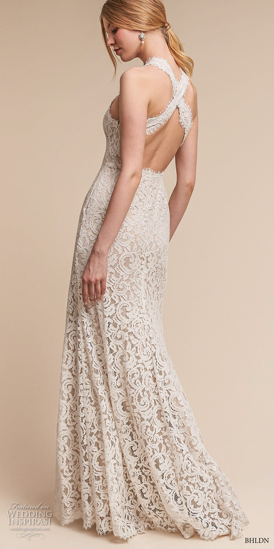 bhldn spring 2017 bridal sleeveless halter v neck full embellishment elegant sheath wedding dress cross strap back sweep train (cheyenne) bv