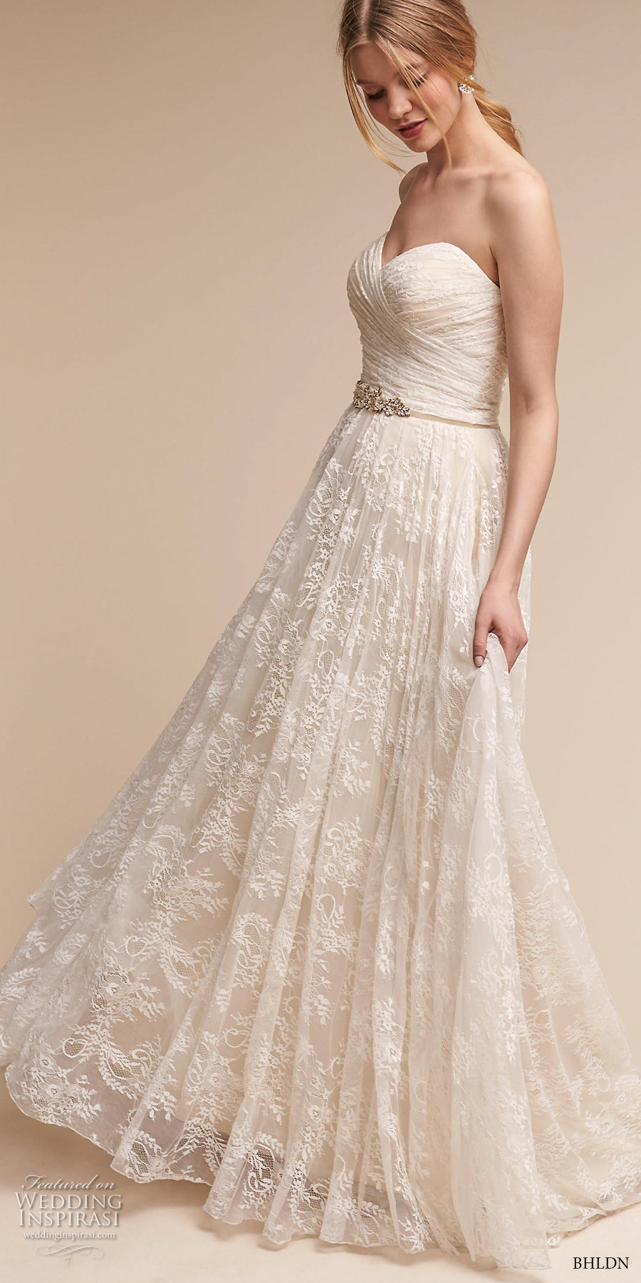 bhldn spring 2017 bridal strapless wrap over ruched bodice romantic a line wedding dress short train (freesia) mv