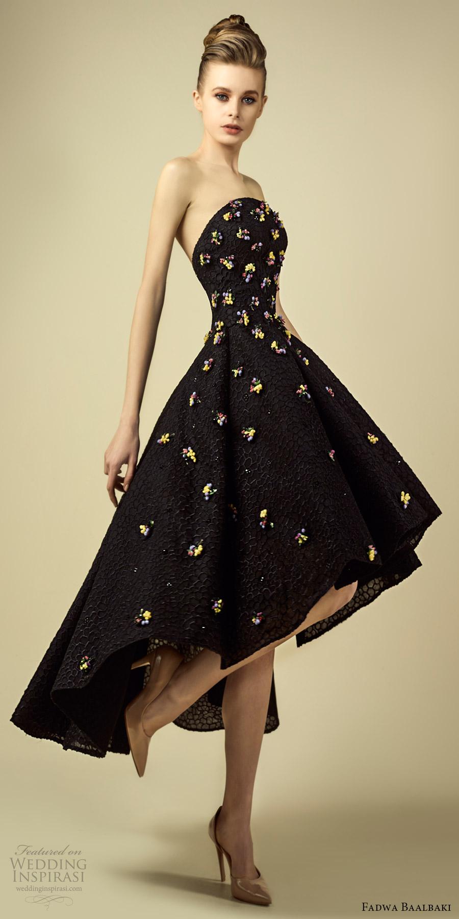 fadwa baalbaki spring 2017 couture strapless straight across short a line dress black (9) mv