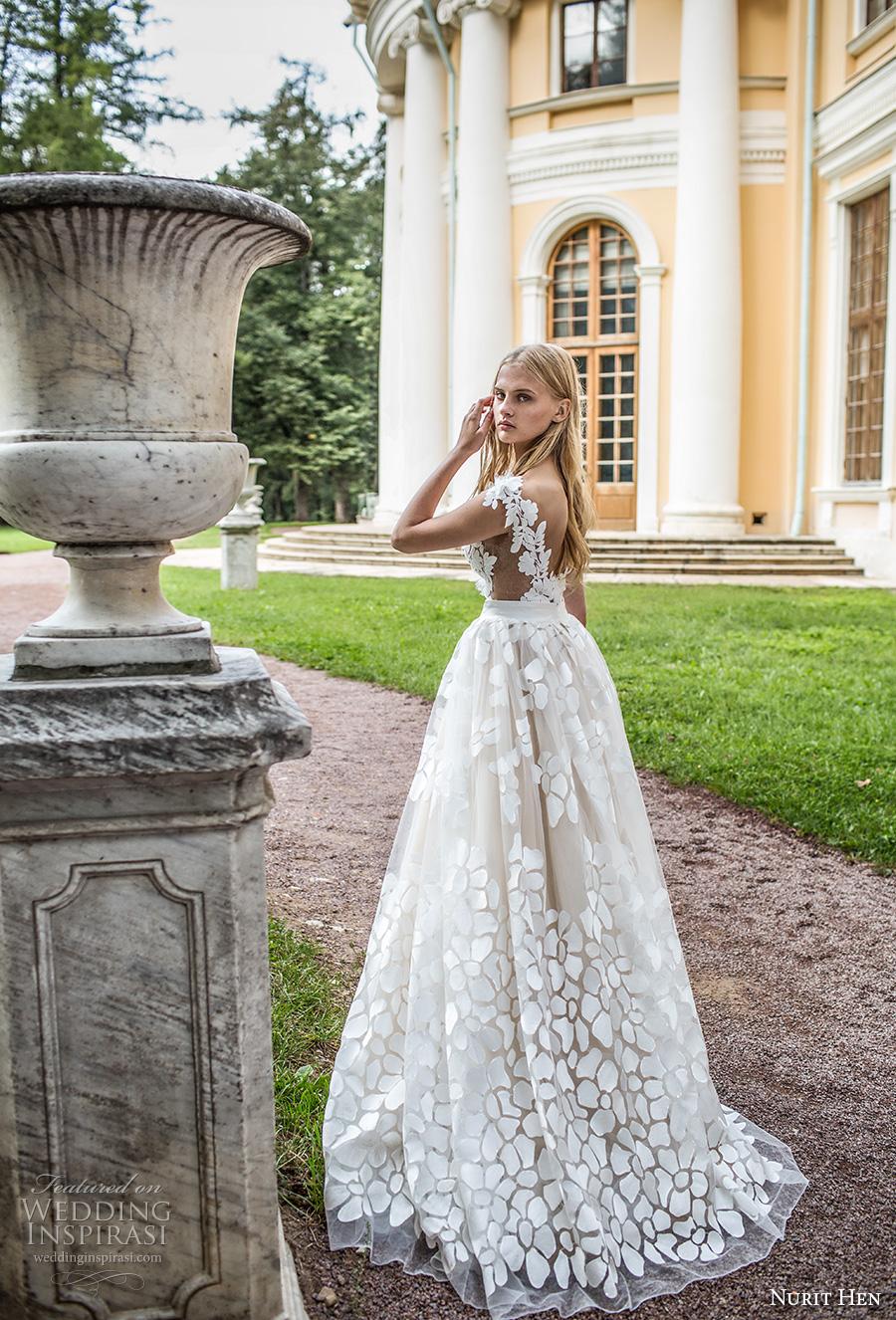 nurit hen 2017 bridal cap sleeves deep v neck full embellishment romantic a line ball gown wedding dress open v back sweep train (1) bv