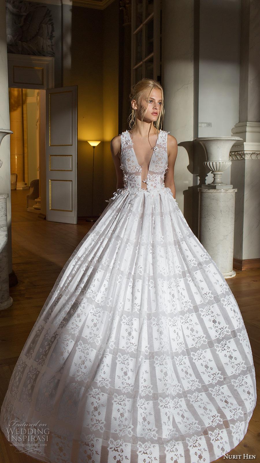 nurit hen 2017 bridal sleeveless deep v plunging v neck full embellishment romantic sexy a line wedding dress sheer back chapel train (4) mv