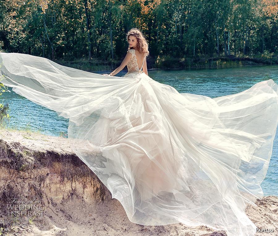 papilio 2017 bridal cap sleeves v neck heavily embellished bodice tulle skirt romantic blush color a line wedding dress open low v back royal train (hornbill) bv