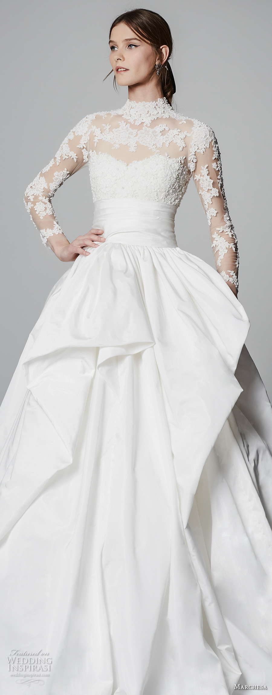 Decent Marchesa Spring 2018 Bridal Long Sleeves Illusion Neck Heart Neckline Heavily Embellished Princess Ball Gown A Line Wedding Dress Sheer Lace Back Chapel Train 11 Zv wedding dress Marchesa Wedding Dress