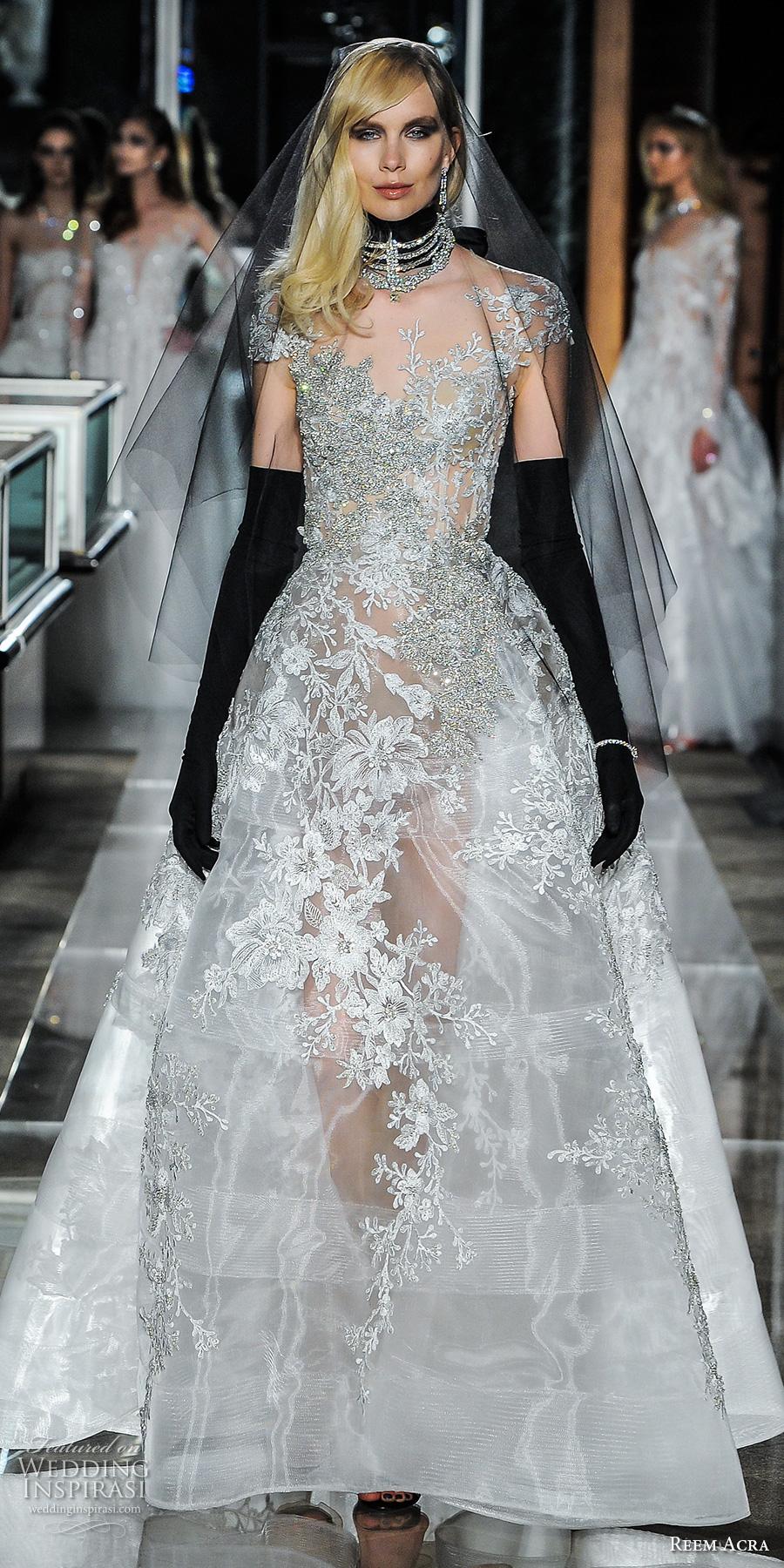 reem acra spring 2018 bridal caps sleeves scoop neckline heavily embellished beaded bodice glamorous a line wedding dress scoop back short train (23couture) mv