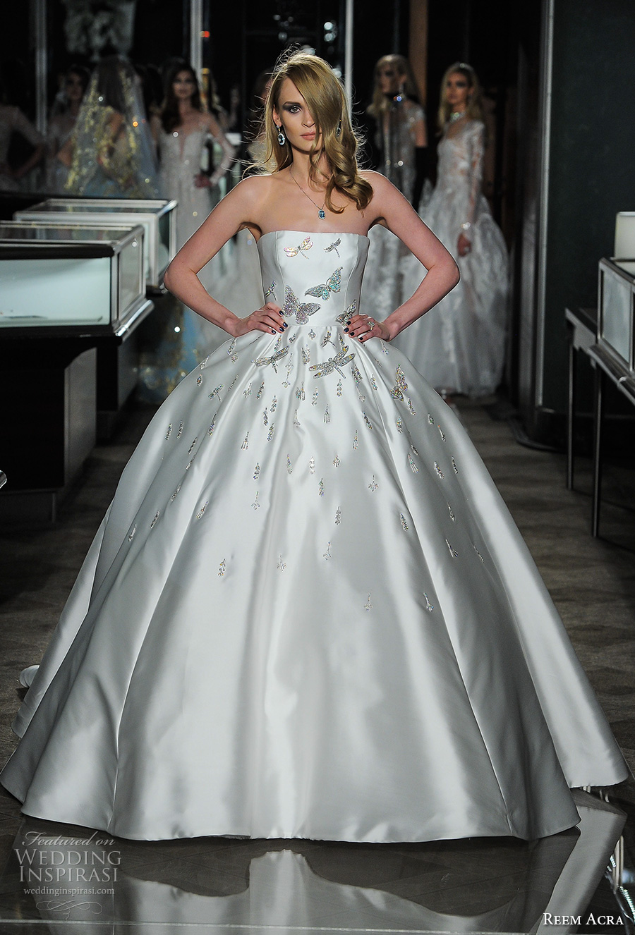reem acra spring 2018 bridal strapless straight across neckline heavily embellished bodice glamorous princess ball gown wedding dress long train (25couture) mv