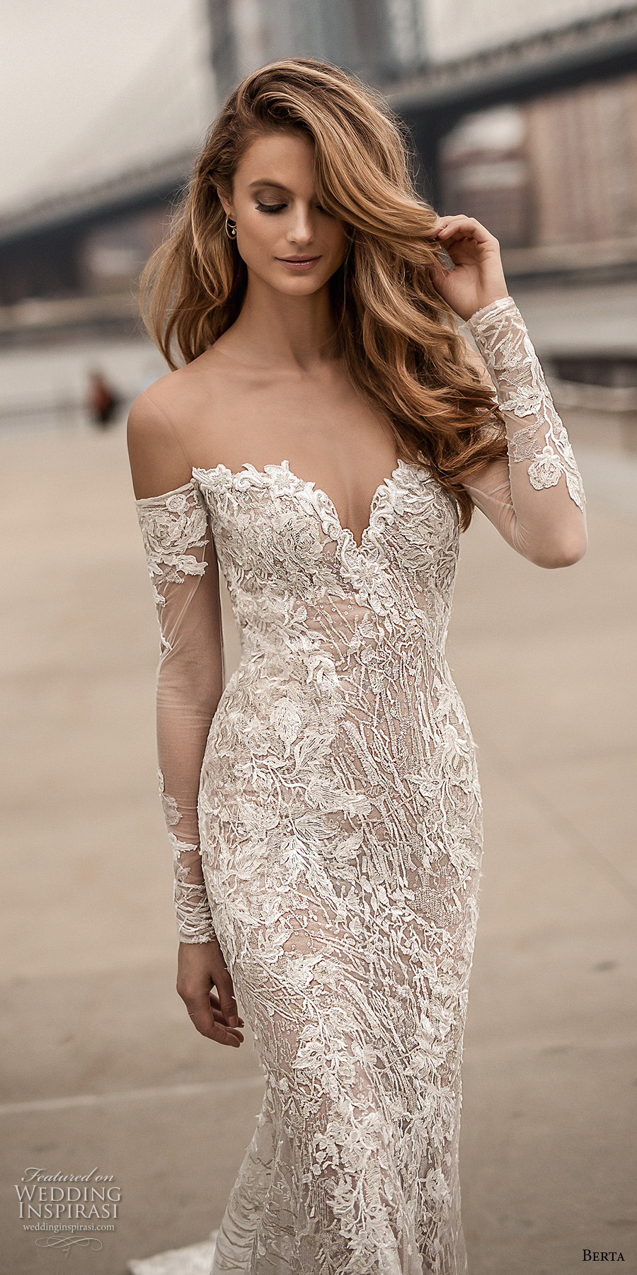 berta spring 2018 bridal long sleeves off the shoulder sweetheart neckline full embellishment sexy elegant fit and flare wedding dress open low back medium train (3) zv