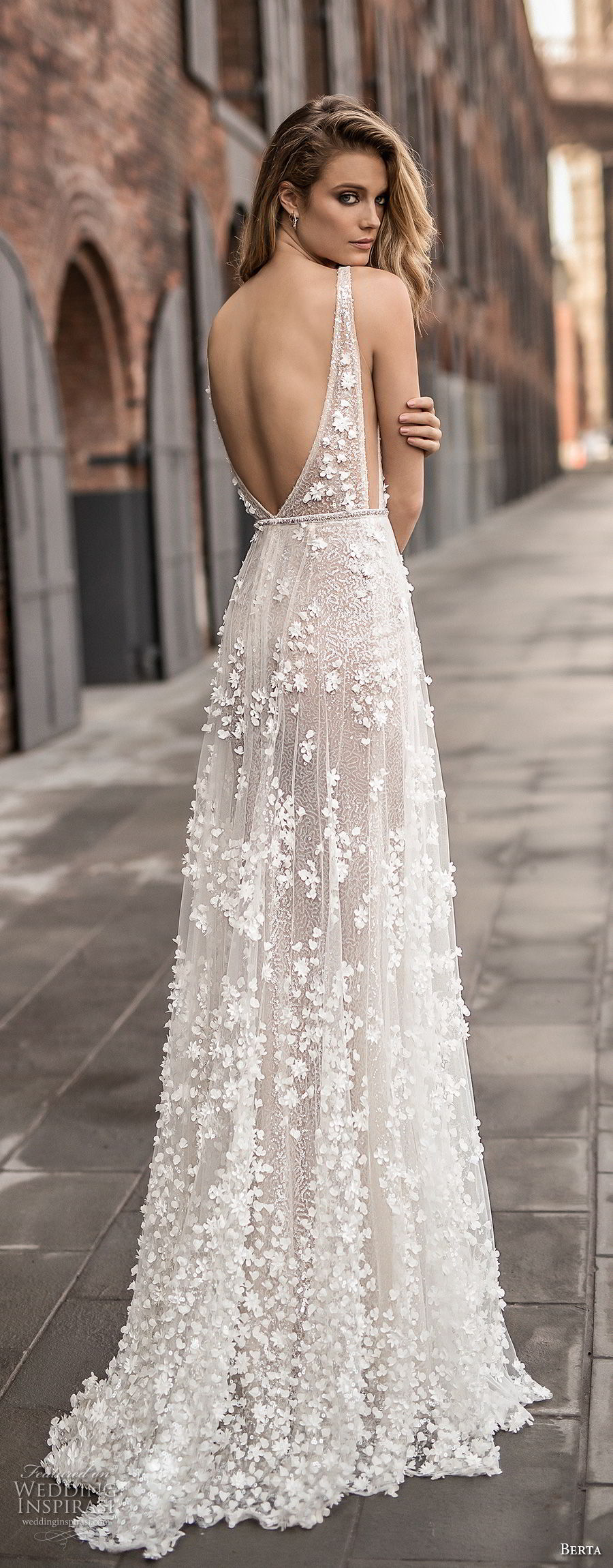 berta spring 2018 bridal sleeveless deep plunging v neck full embellishment sexy a line wedding dress open back sweep train (14) bv