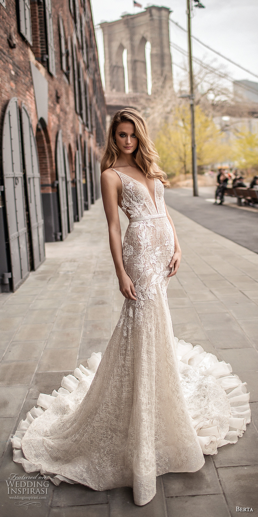 berta spring 2018 bridal sleeveless deep plunging v neckline full embellishment sexy elegant fit and flare wedding dress open low back chapel train (7) mv