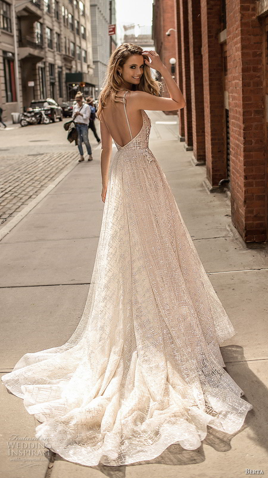 berta spring 2018 bridal spaghetti strap deep v neck full embellishment sexy romantic a line wedding dress open back chapel train (2) bv