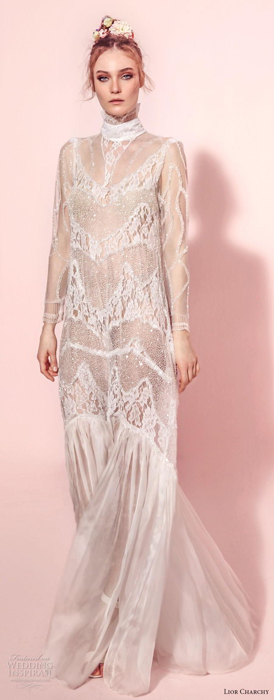 lior charchy spring 2017 bridal long sleeves high neck full embellishment bohemian retro column wedding dress covered back sweep train (1) mv