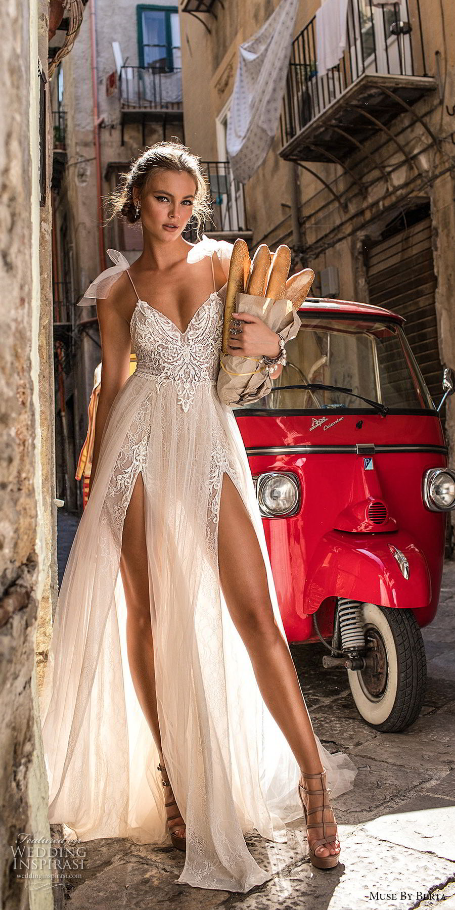 muse berta 2018 bridal spaghetti strap sweetheart neckline heavily embellished bodice high slit tulle skirt sexy soft a line wedding dress sweep train (1) mv