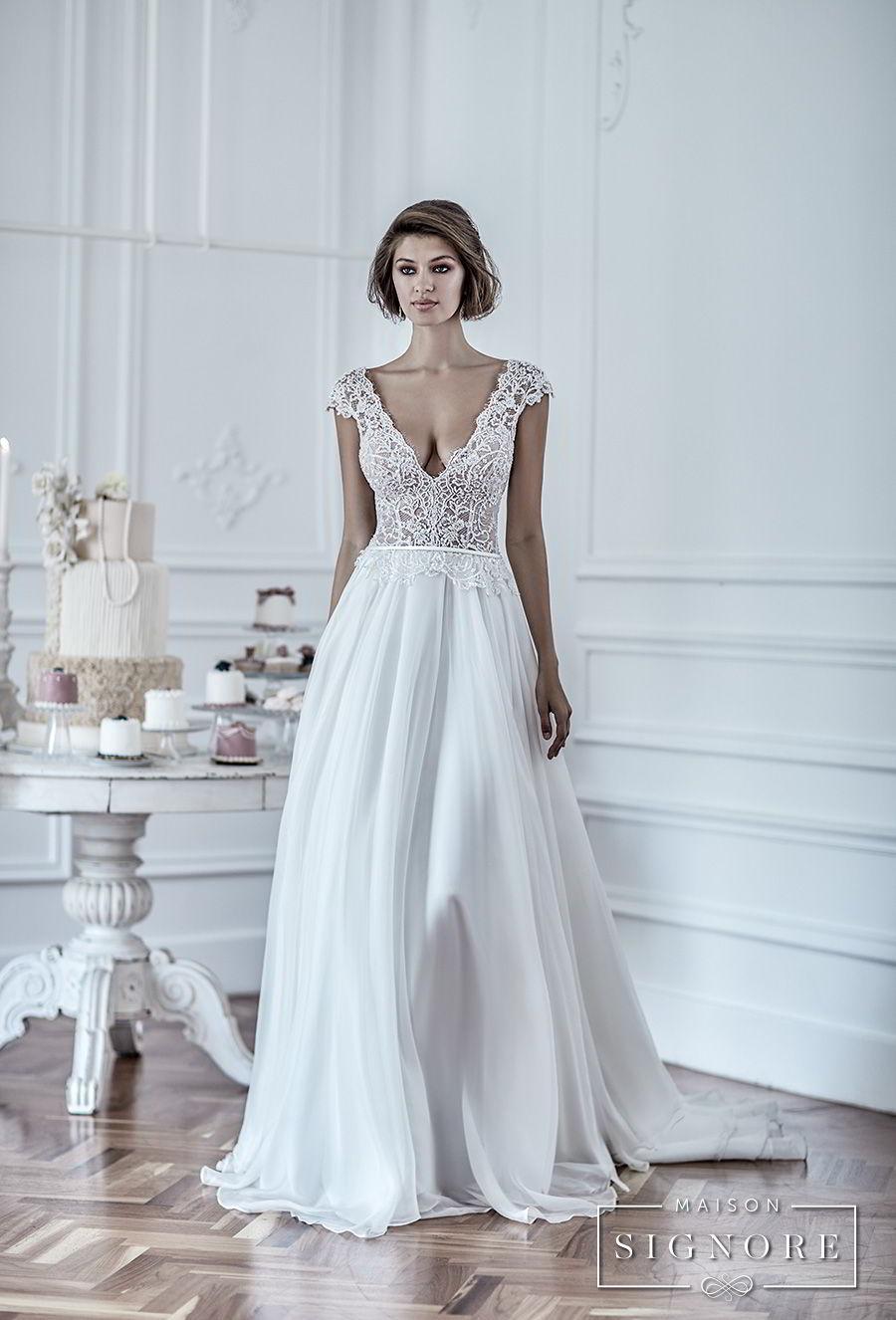 maison signore 2018 bridal cap sleeves deep v neck heavily embellished romantic sexy pastel blue soft a line wedding dress chapel train (duchessa) mv fv