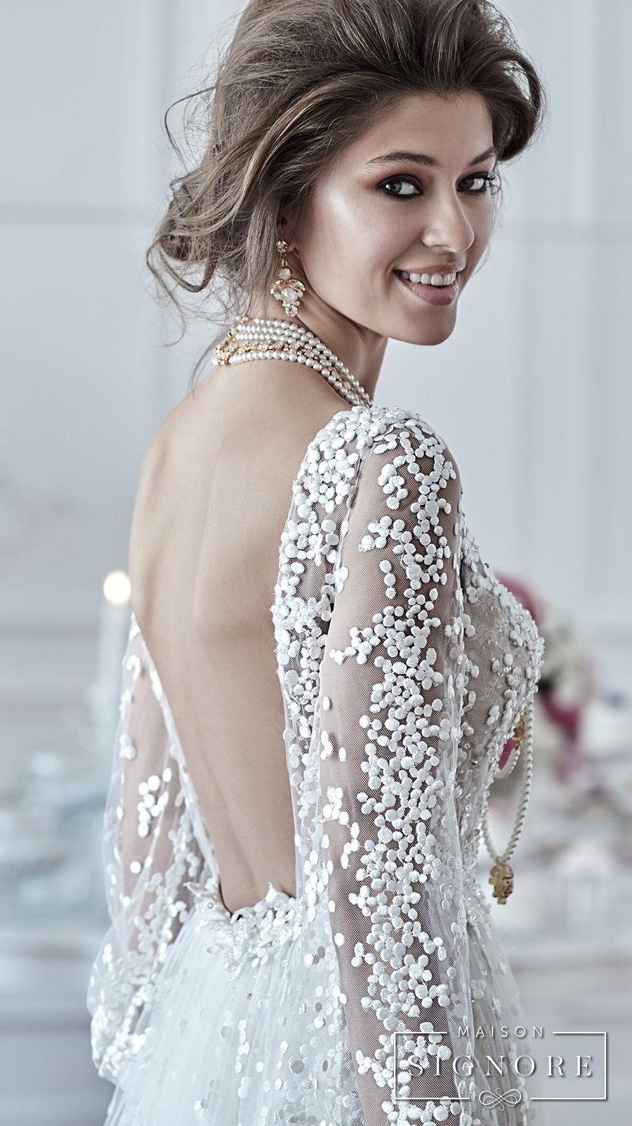 maison signore 2018 bridal long sleeves v neck full embellishment elegant a line wedding dress open back sweep train (drusilla) zbv
