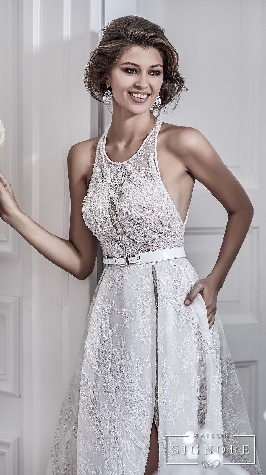 maison signore 2018 bridal sleeveless halter jewel neck full embellishment elegant a line wedding dress with pocket cross strap back chapel train (demy) mv