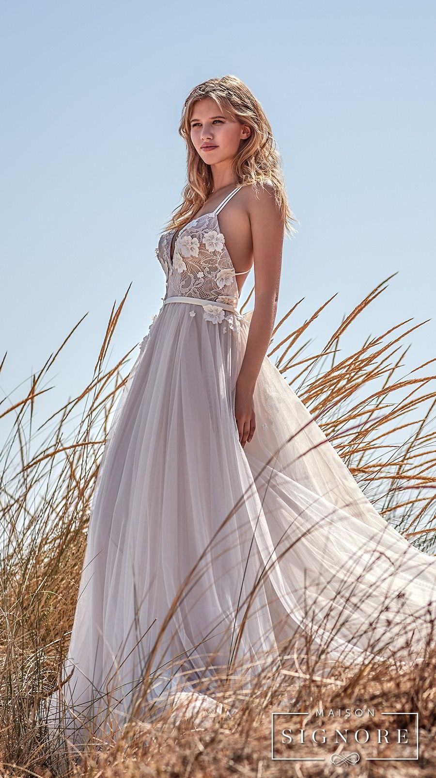 maison signore 2018 bridal thin strap sweetheart neckline heavily embellished bodice tulle skirt romantic a line wedding dress chapel train (caroline) sdv