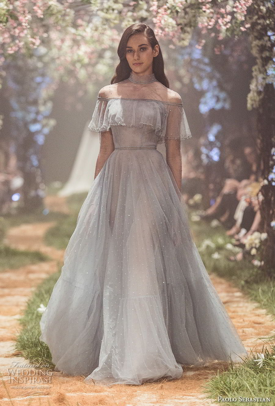 paolo sebastian spring 2018 couture long sleeves illusion high neck straight across neckline light embellishment romantic vintage pastel blue a line wedding dress (7) mv
