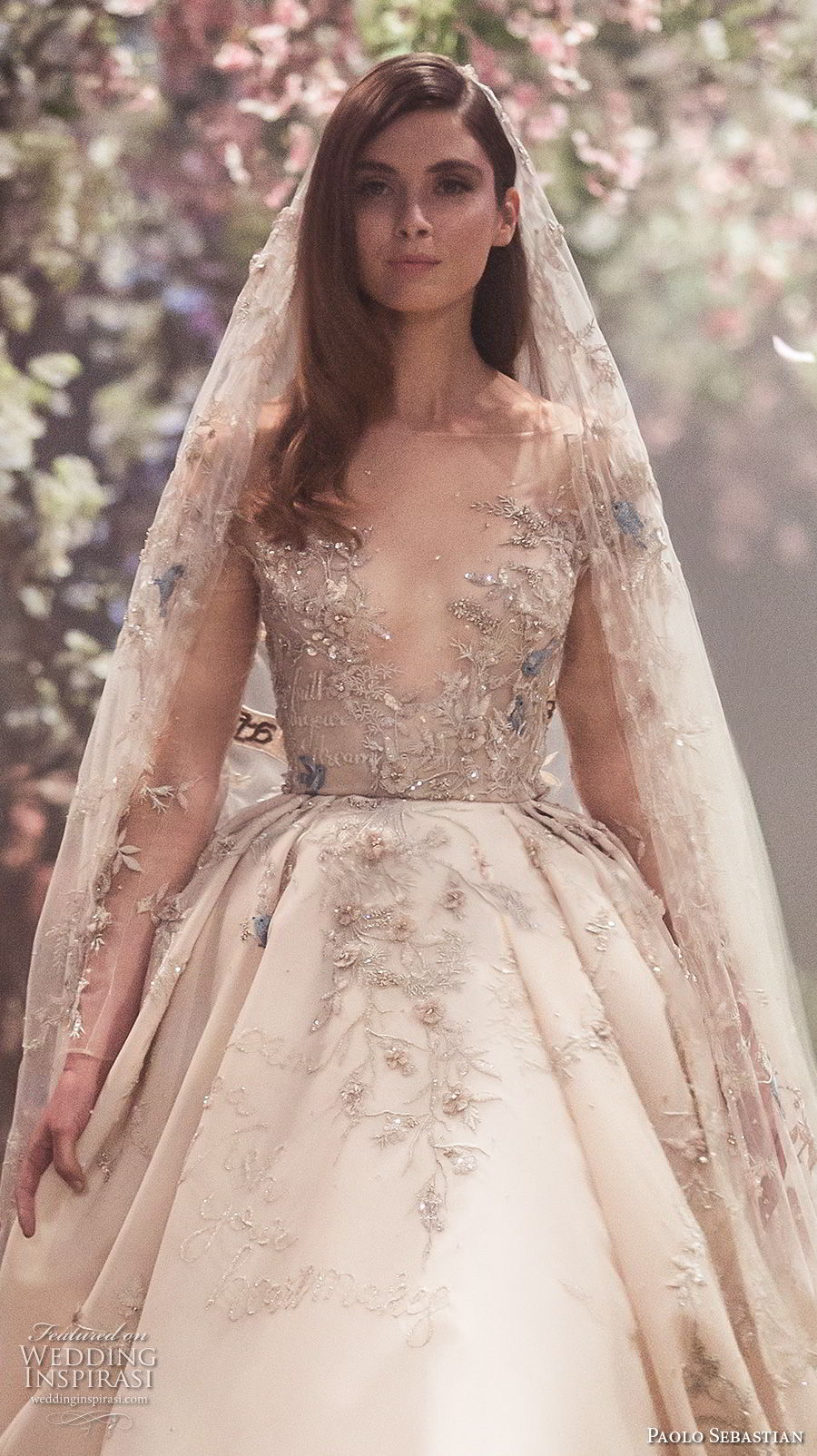 paolo sebastian spring 2018 couture long sleeves illusion jewel v neck heavily embellished bodice princess blush color ball gown a line wedding dress (1) zv