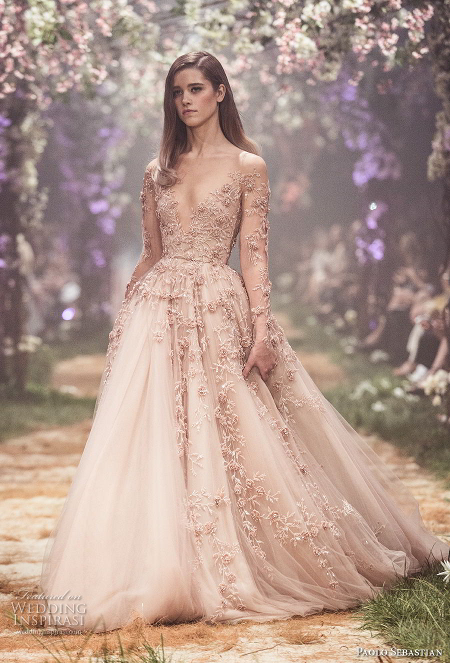 paolo sebastian spring 2018 couture long sleeves illusion jewel v neck heavily embellished bodice romantic blush color a line wedding dress (2) mv