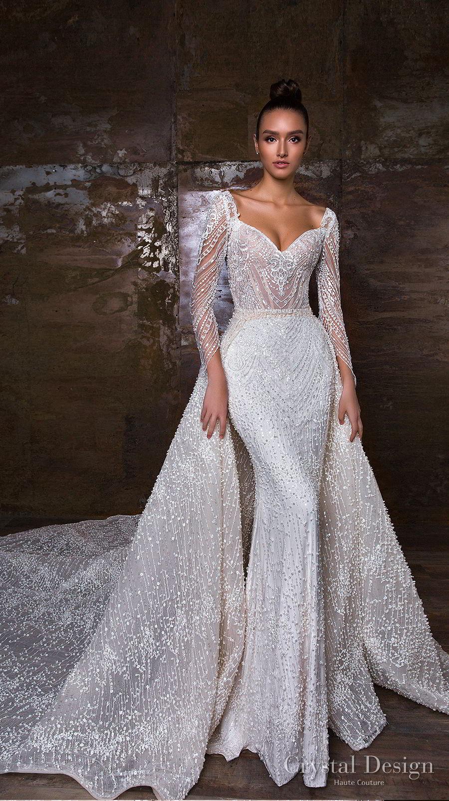 crystal design 2018 long sleeves sweetheart neckline full embellishment glamorous sheath wedding dress a line overskirt royal train (penelopa) mv